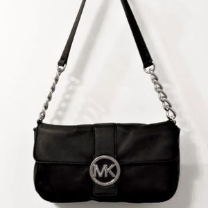 Michael Kors Bag Margo Black Leather Shoulder Bag